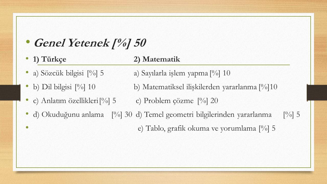 Genel Yetenek [%] 50 1) Türkçe 2) Matematik